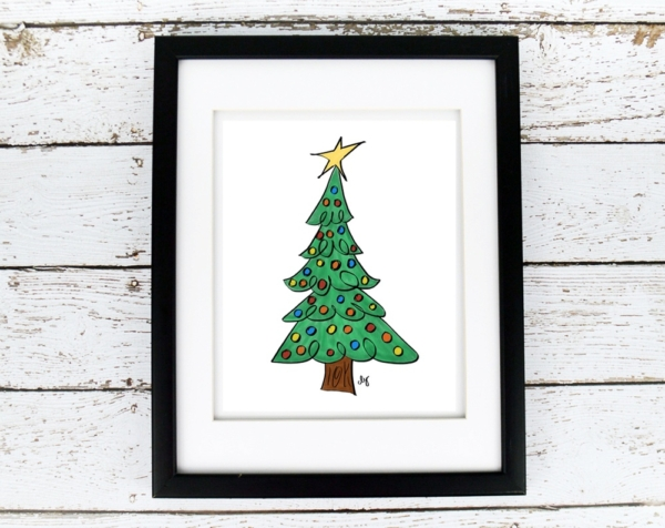 Christmas Tree with Ornaments - Printable - Digital Art