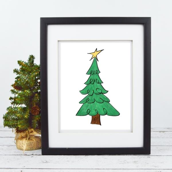 Christmas Tree with Star - Printable - Digital Art