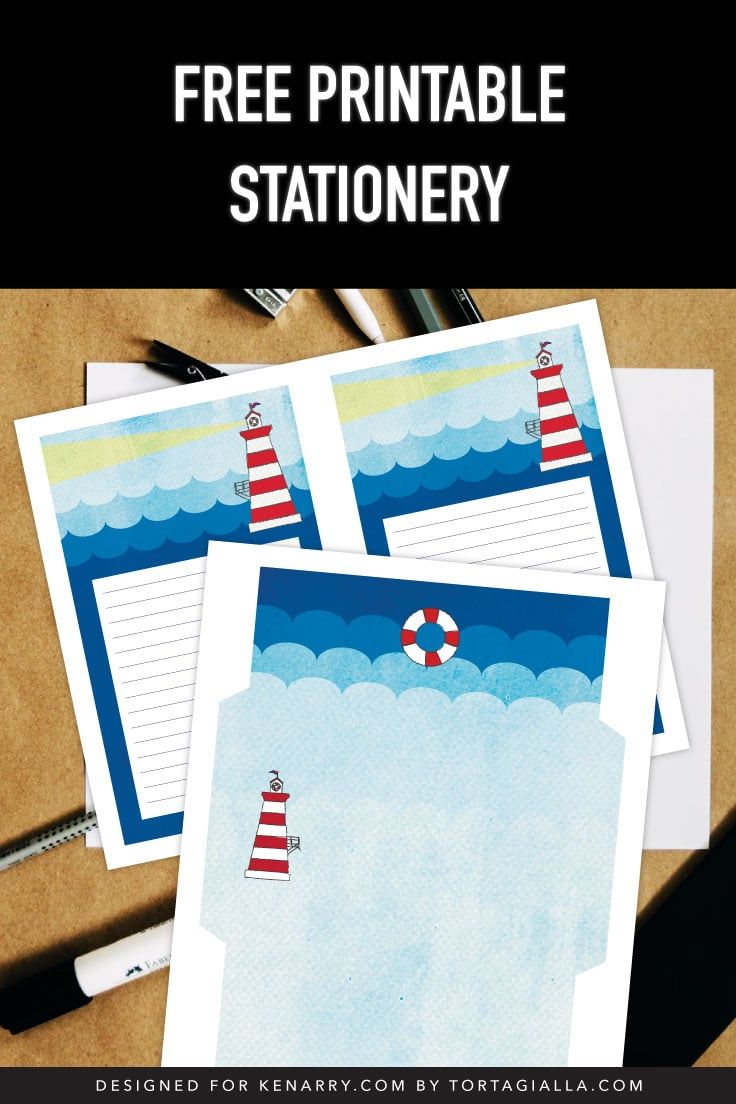 Lighthouse designed stationery set printed on top of desk with pencils and papers.