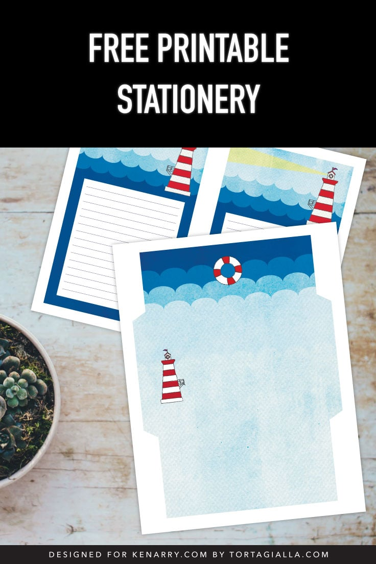 Preview of lighthouse design printable stationery lined paper and envelope template on desk with potted succulent.