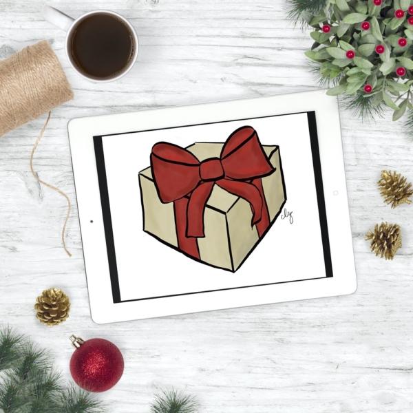 Holiday Gift - Christmas Print - Digital Art