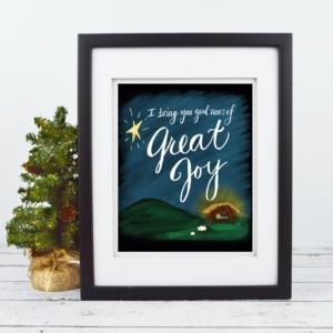 Good News Great Joy Chalkboard Print - Baby Jesus in Manger - Digital Art