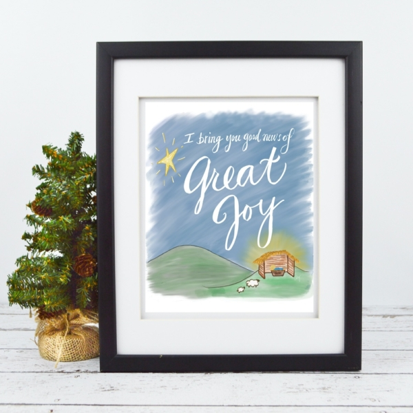 Good News, Great Joy Print - Baby Jesus Nativity - Christmas Digital Art