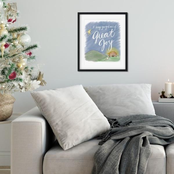 Good News, Great Joy Print - Baby Jesus Nativity - Christmas Digital Art