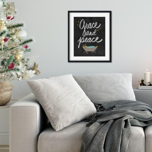 Grace and Peace Chalkboard Print - Baby Jesus Nativity - Christmas Digital Art