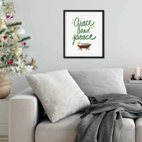 Grace and Peace - Baby Jesus Nativity - Christmas Print - Digital Art