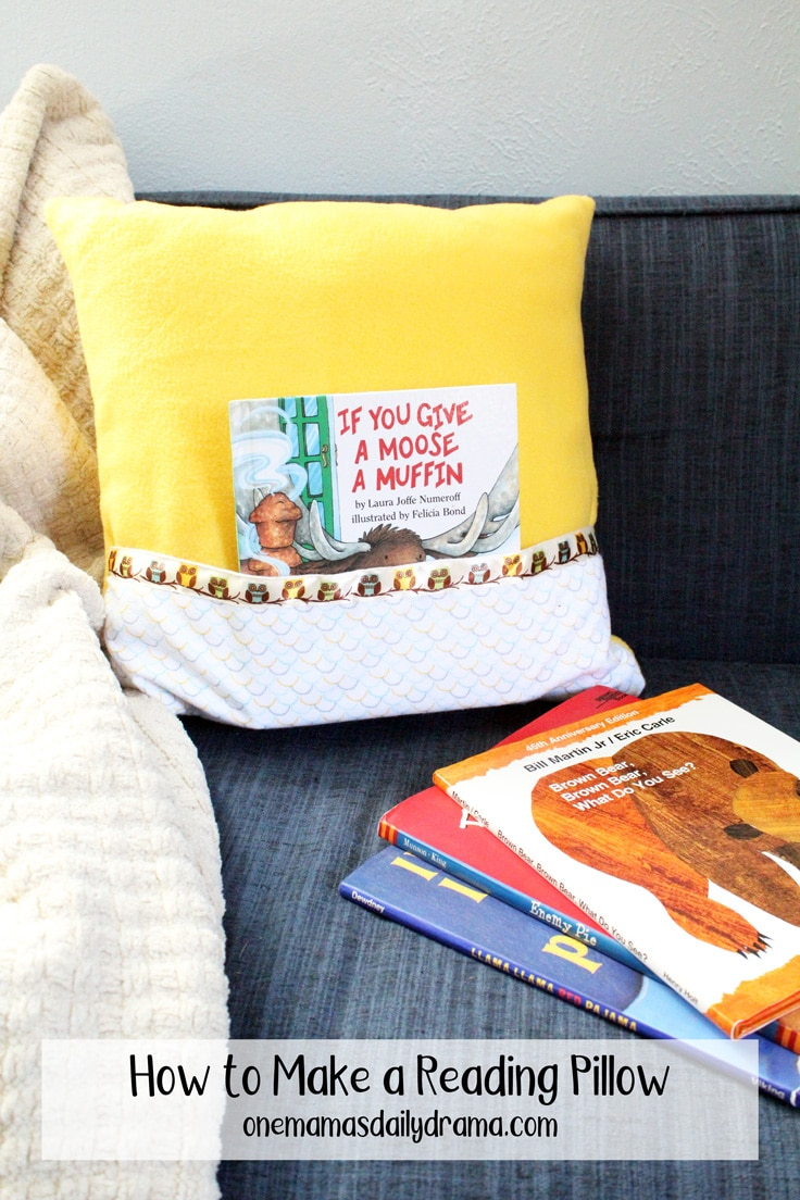 reading pillow on a sofa with