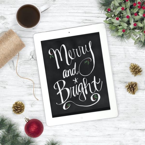 Merry and Bright Chalkboard Print - Christmas Digital Art
