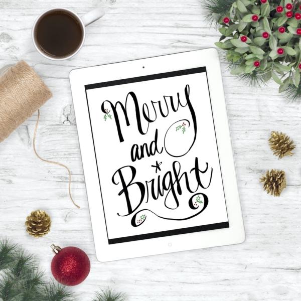 Merry and Bright Christmas Print - Digital Art