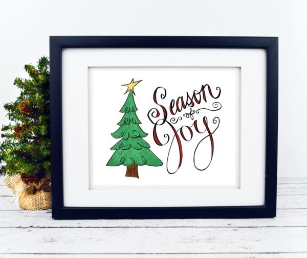 Season of Joy with Christmas Tree Print - Digital Art