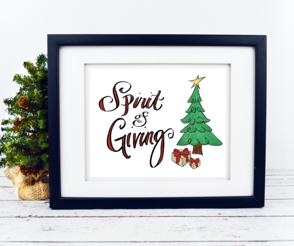 Spirit of Giving with Christmas Tree Print - Digital Art