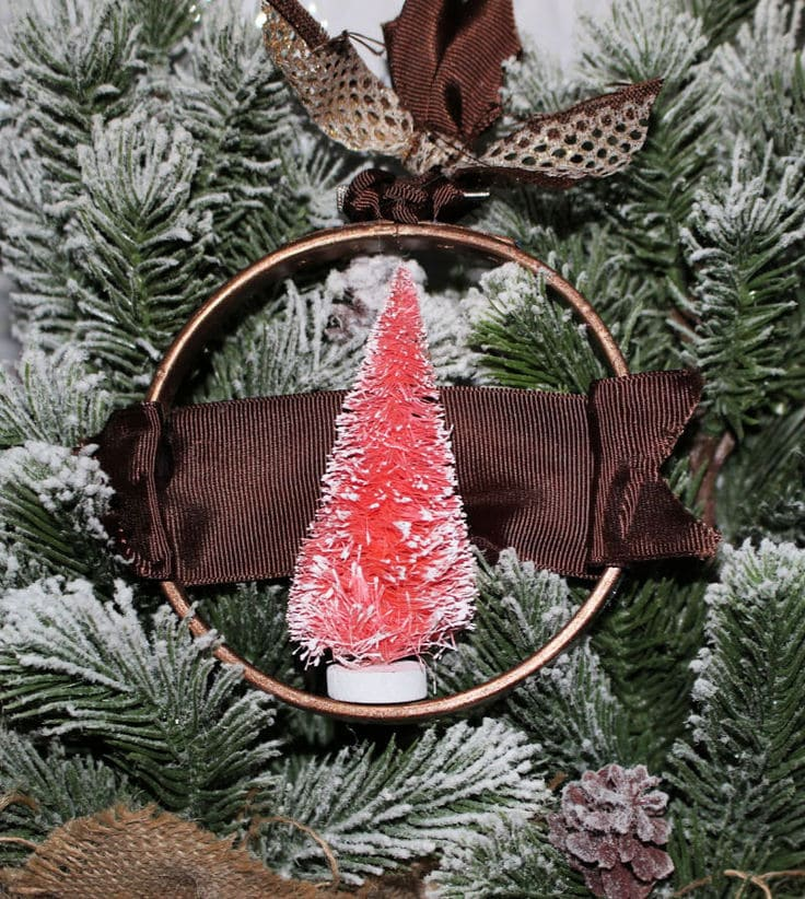 Bottle brush embroidery hoop Christmas tree ornament from Our Crafty Mom