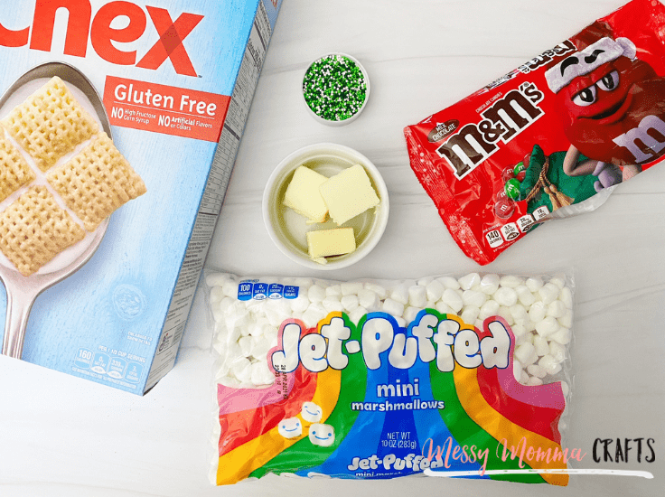 Here's what you'll need from the store for these Chex Marshmallow Bars.