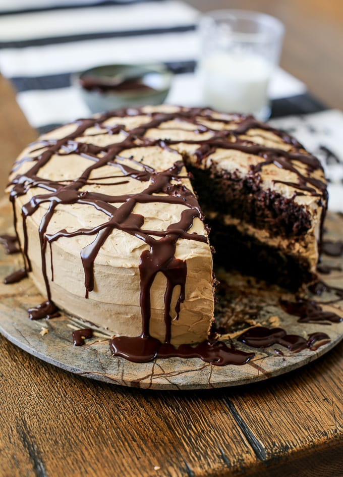 Chocolate cake with coffee cream drizzled with chocolate glaze