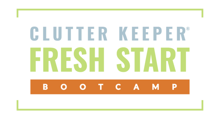 Clutter Keeper Fresh Start Bootcamp logo with blue, green, and orange text in a box