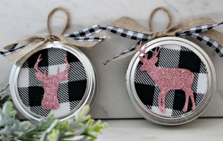 Buffalo check ornaments using mason jar lids from Our Crafty Mom