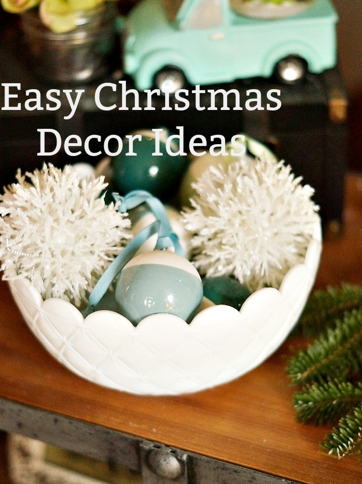 Bowl of Christmas ornaments with text overlay