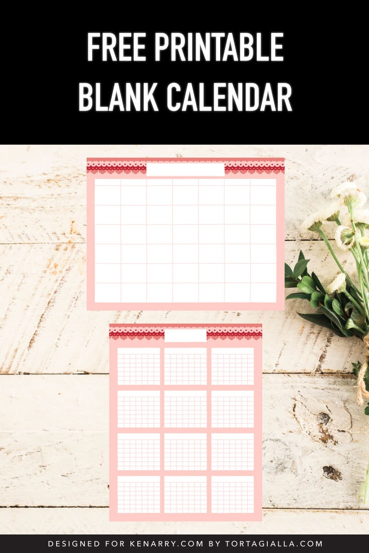 Preview of monthly and yearly blank calendar template on wooden planks with some white flowers and greenery decoration.