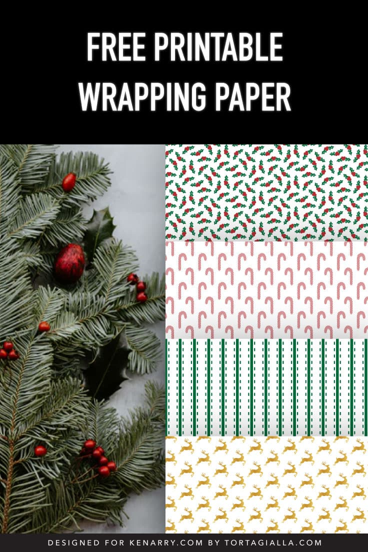 Evergreen plants with preview of four printable wrapping paper patterns: holly leaves, candy canes, green stripes and gold reindeer.