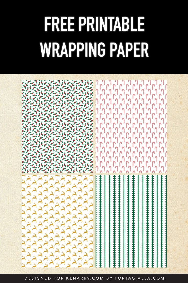 Preview of four paper designs: holly leaves, candy canes, gold reindeer and green stripes.