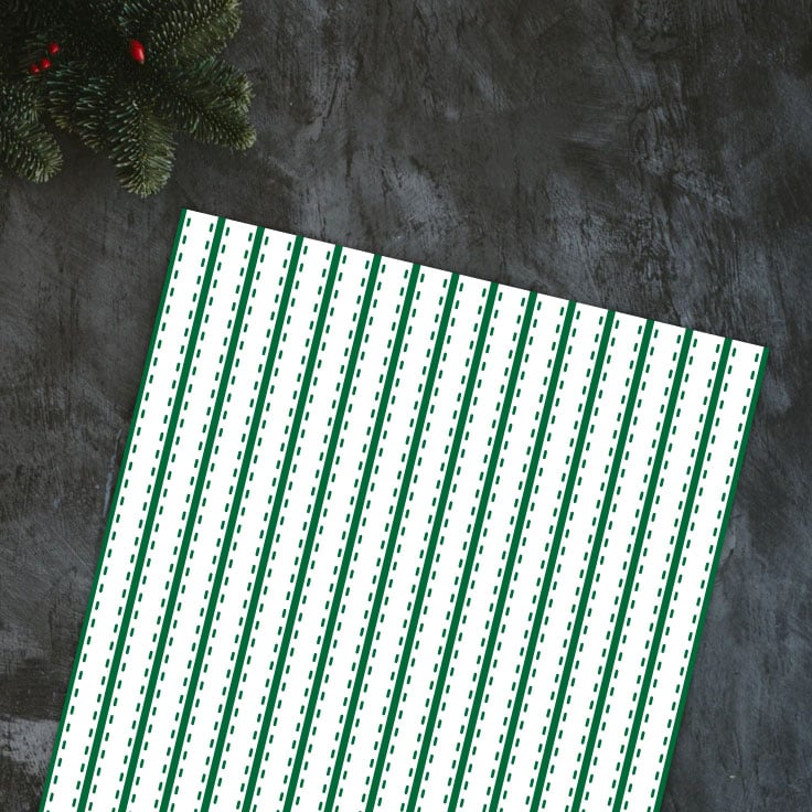 Preview of green stripes paper on dark black countertop and evergreen decoration in the corner.
