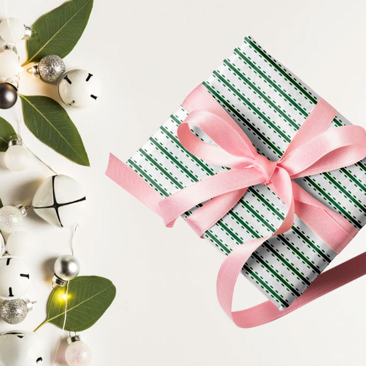 Green leaves and white bells on left border with a gift wrapped in green stripes paper and pink ribbon.