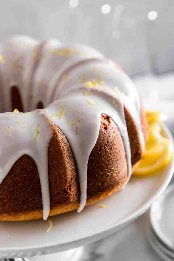 Champagne lemon bundt cake with white icing