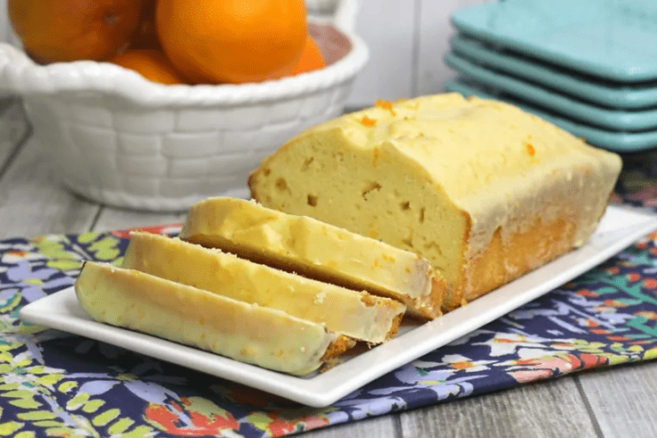 Sliced loaf of zesty orange mimosa bread