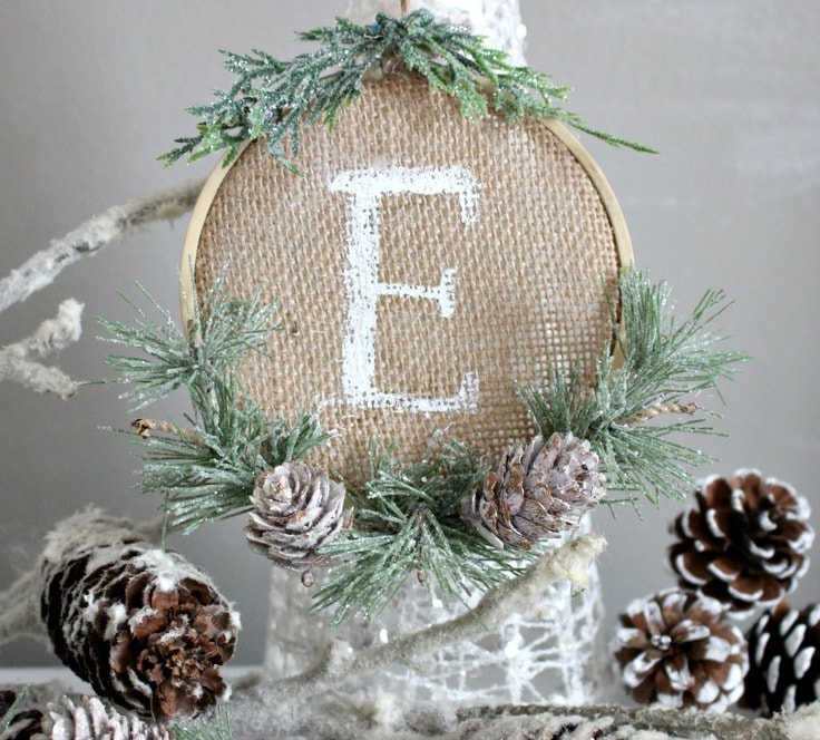 Personalized burlap embroidery hoop ornament from Our Crafty Mom