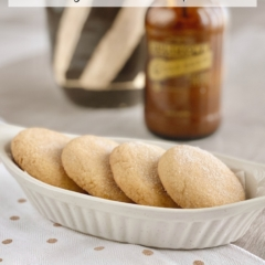 Brown Sugar Cookies in a white dish on a white & gold polkadot towel.