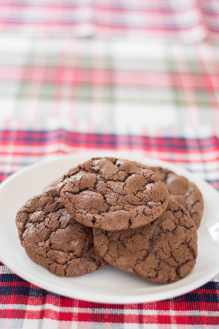 A plate of Brownie Mix Cookies piled up and ready to be devoured!