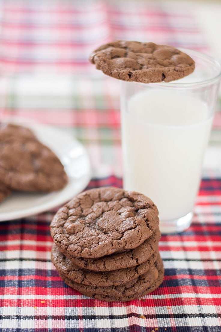 A gorgeous pile of chocolate cookies, accompanied with milk.