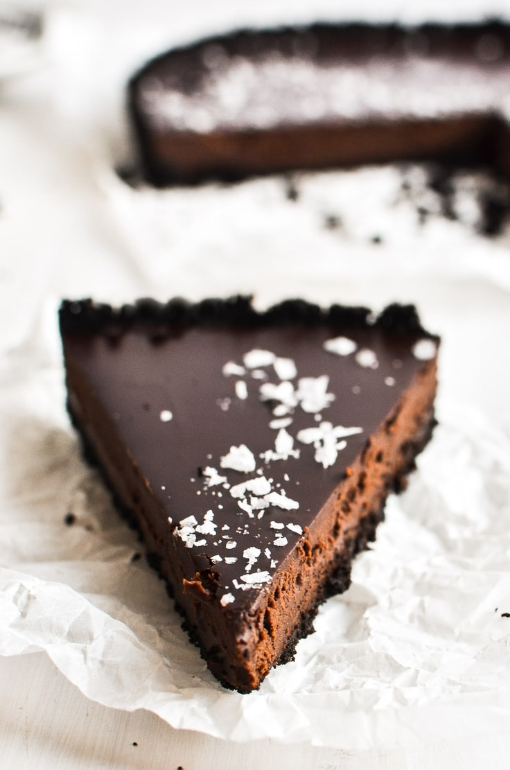Dark chocolate truffle tart slice