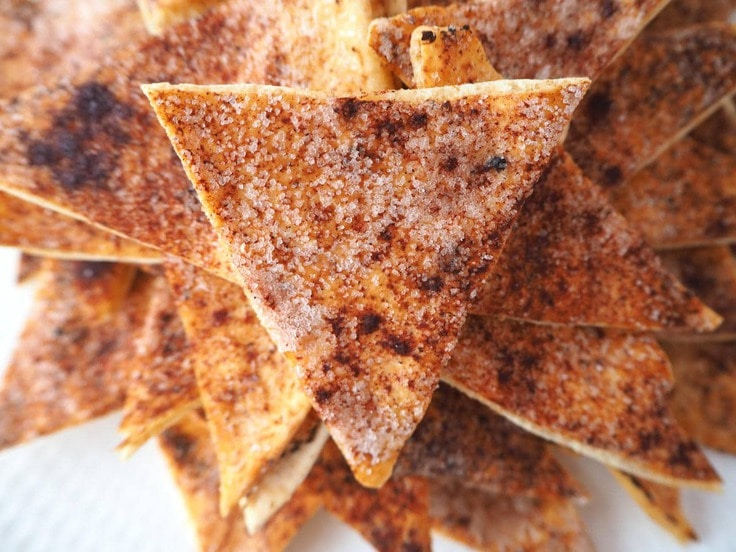 Cinnamon sugar pita chip wedges