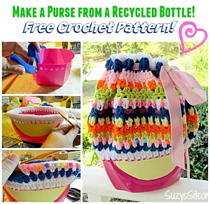 Crochet pattern to make a purse from a recycled bottle from Suzy's Sitcom