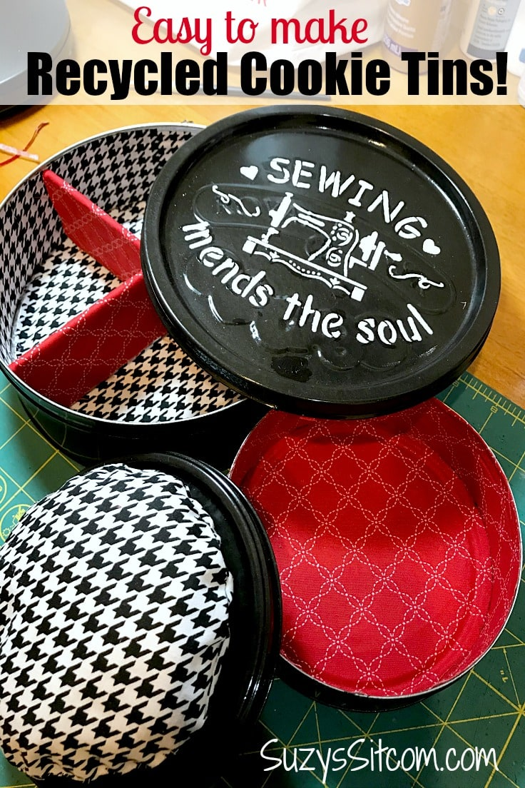 Easy to make recycled cookie tins updated with paint on the outside and a fabric lining