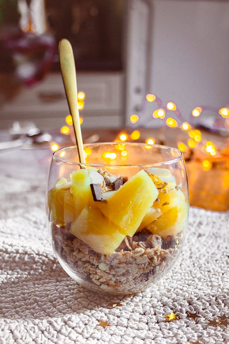 Layered pineapple granola verrine fruit dessert