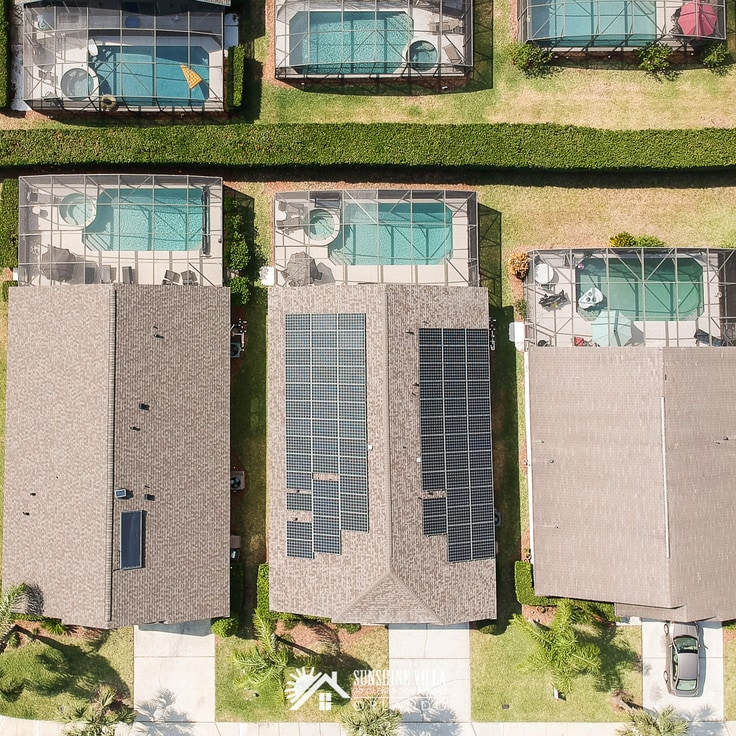 aerial view of Sunshine Villa house with solar panels on the roof