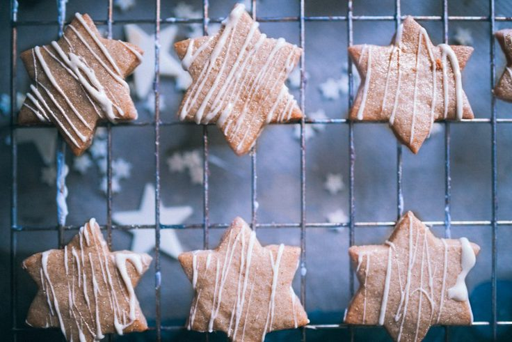 White chocolate salted caramel cookies shaped like stars