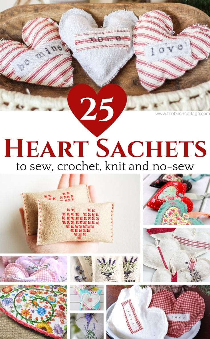 Collage of fabric heart craft projects with text overlay