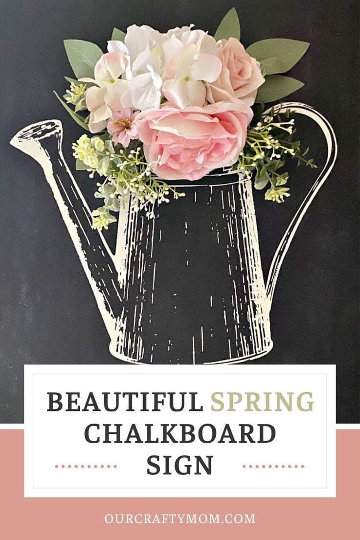 beautiful spring chalkboard sign with pink flowers