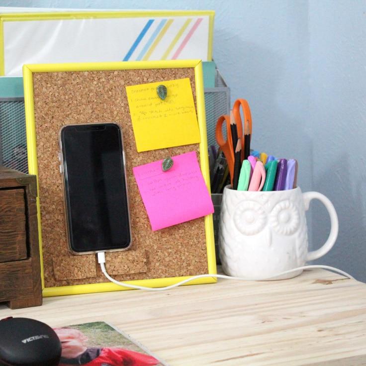 Pretty DIY Phone Stand and Cork Bulletin Board