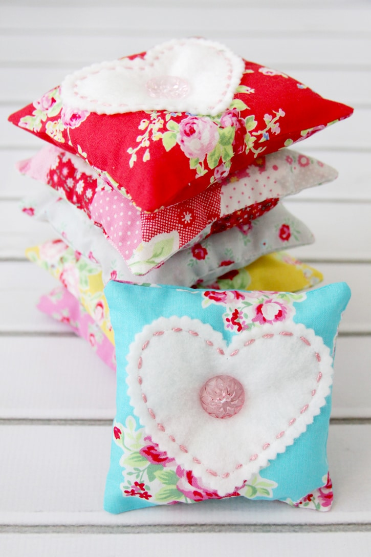 Fabric and felt lavender sachets in bright patterned fabric from Flamingo Toes