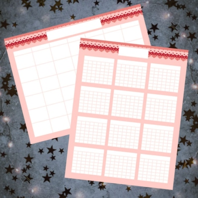 Preview of yearly and monthly blank calendar template on concrete background with glittery stars.