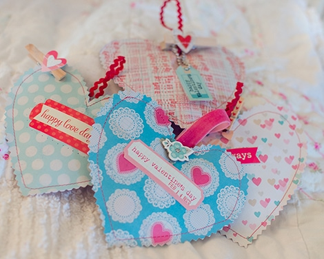 4 small heart sachets that all say something different about Valentine's Day from The Crate Paper Blog.