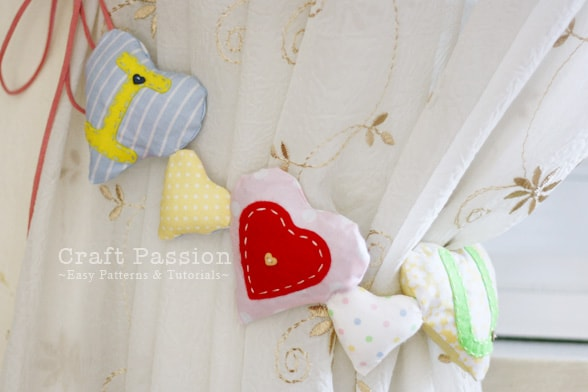 Heart-shaped sachet garland made using fabric scraps from Craft Passion.