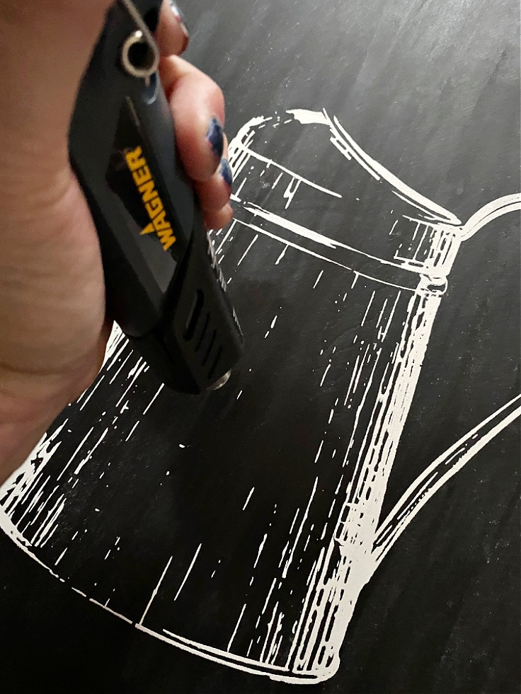 using a heat gun to speed up drying the chalk paste