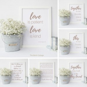 Printable love quote artwork from The Birch Cottage Blog.