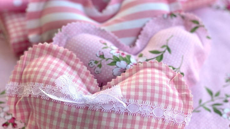 3 new-sew heart sachets in pink gingham fabric from Moving with the Military.