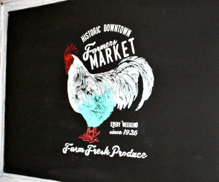 rooster chalkboard farmer's market sign from Our Crafty Mom